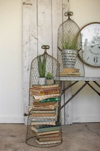 Rustic-Gold-Wire-Cloche-Topiary-Trellis-Garden-Decor-Cottage-Chic-36-034-H-Set-Of-2