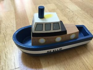 Details about Wooden Tug boat Childrens Toy classic toy