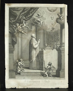 S-Vincentius-a-Paulo-Engraving-Religious-51-cm-Print-c1700-Saint-Vincent-of-Paul