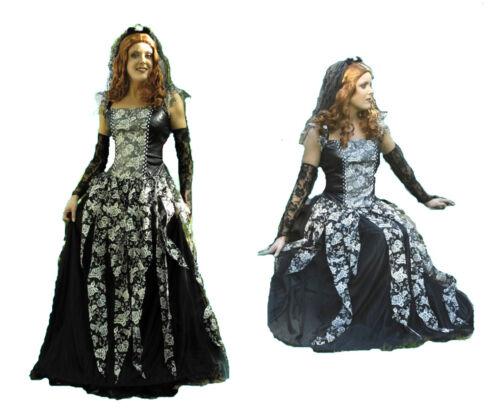 3t Damen Kostüm SCHWARZE WITWE inkl Reifrock mittelalter Larp Vampir Gothic Hexe
