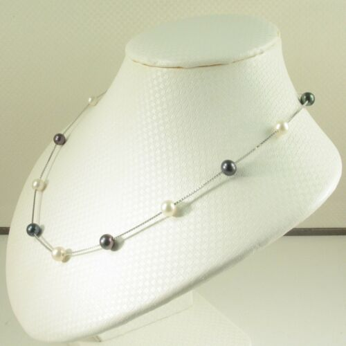 Details about  /Hand Crafted Sterling Silver .925 Black /& White Cultured Pearl Tin-cup Necklace