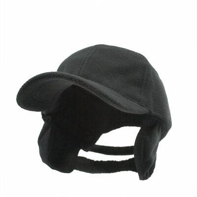 Polar Fleece Cap Hat With Earflaps Rothco 8560 Black  Low Profile