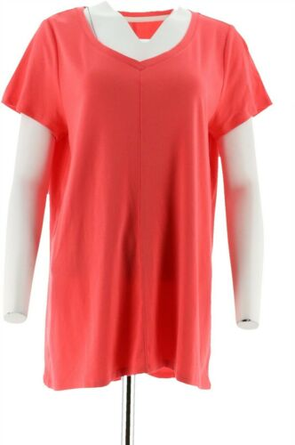 Isaac Mizrahi Essentials Pima Cotton V-Neck Tunic Calypso Coral 2X NEW A289636