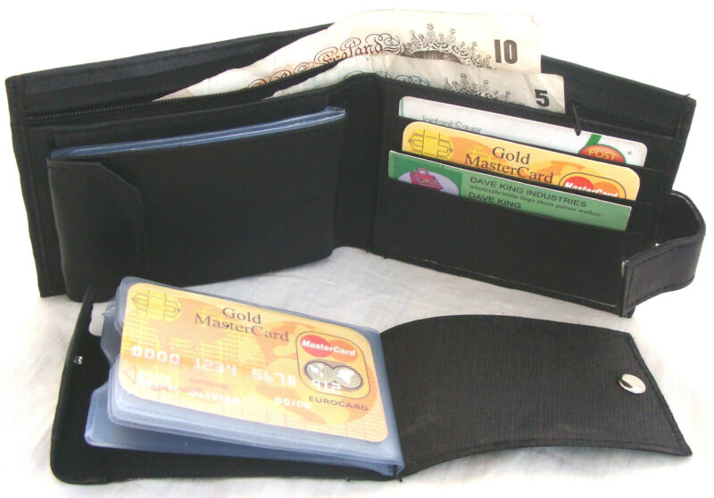 Black Leather Wallet With Back Zip & Removeable Credit Card Wallet Enclosed 66