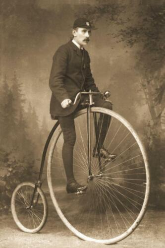 Photo Print 8x12 Man on High Wheel Penny Farthing Bicycle . Antique Photo ..