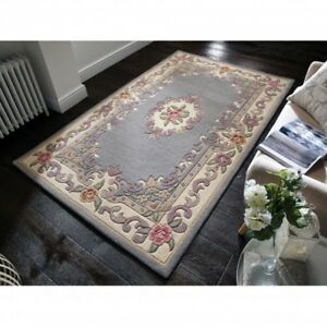 Aubusson Lotus Premium Wool Rugs Grey Traditional Hand Carved
