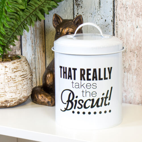 Round Métal Émail Blanc Cookie Jar Biscuit Baril Stockage Alimentaire BIDON TITULAIRE
