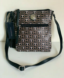 NEW-TOMMY-HILFIGER-BLACK-BROWN-PVC-MESSENGER-CROSSBODY-SLING-BAG-PURSE-69-SALE