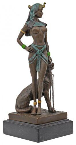 Bronzeskulptur Kleopatra Cleopatra Panther Antik-Stil Bronze Figur Statue 26cm