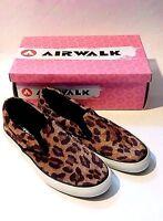 Airwalk Women's Twin Gore Slip On Flats Shoes Faux Fur Animal Print U.s. Size 11