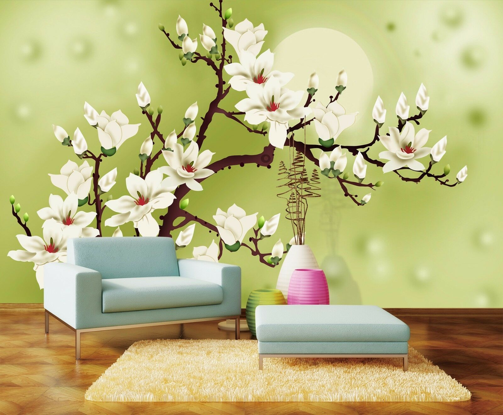 3D Full Moon And Flowers 84 WandPapier Decal Dercor Home Kids Nursery Mural  Home