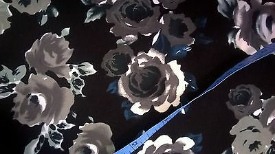 Polyester black with roses floral print fabric by the metre