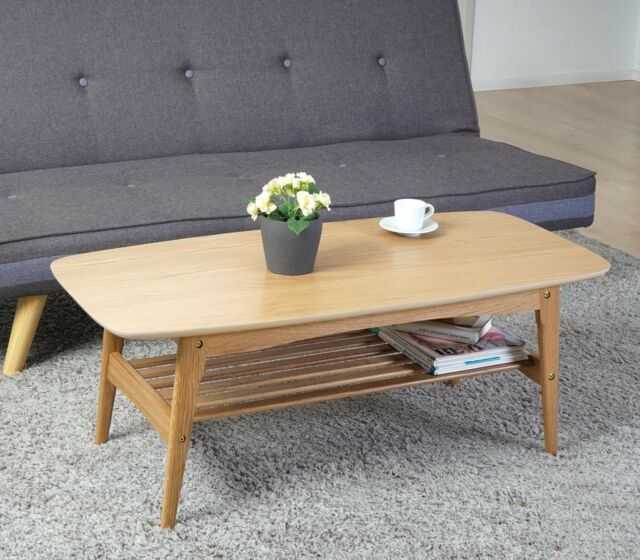 Retro Coffee Table Wooden Scandinavian Living Room Furniture Oak Vintage Style