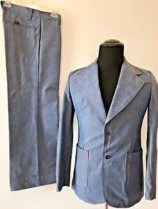 Vintage-1970s-h-i-s-his-Sportswear-Blue-Chambray-Look-size-36-Leisure-Suit-P0