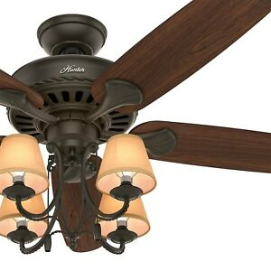 54 hunter traditional ceiling fan with light and canvas shades in image is loading 54 034 hunter traditional ceiling fan with light aloadofball Gallery