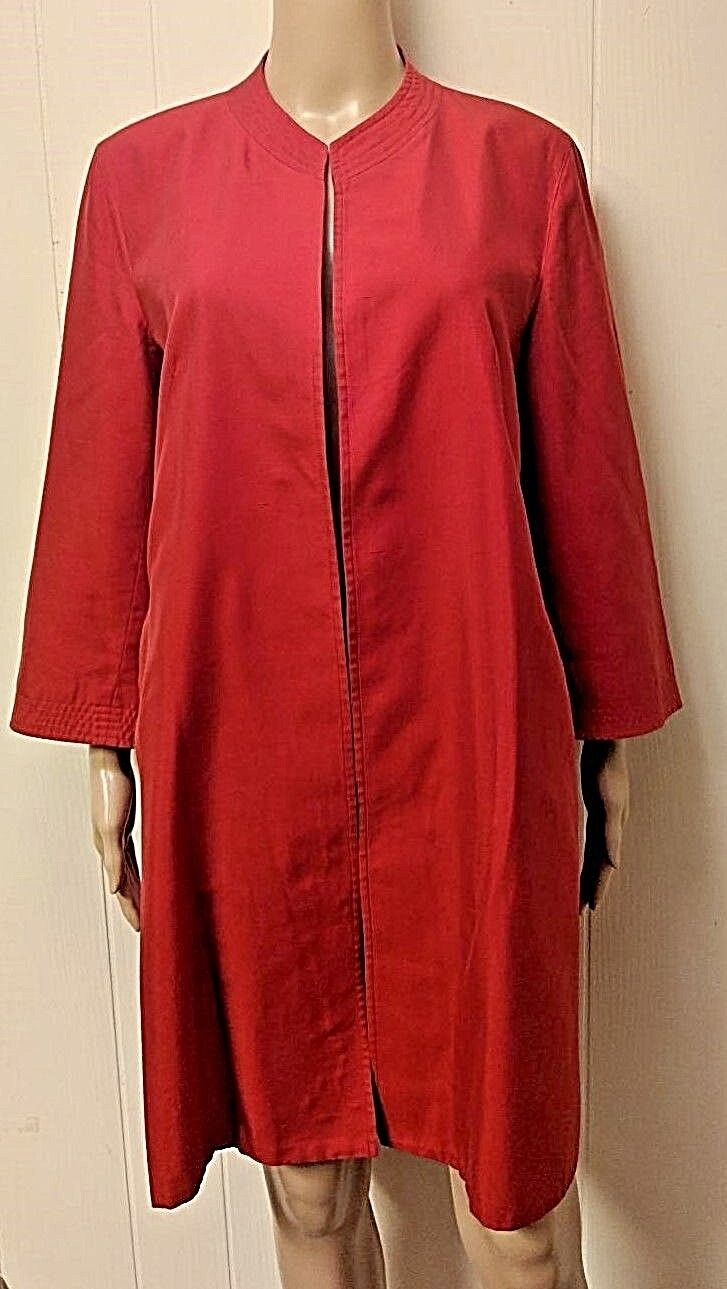 MAX MARA Designer Red Silk Blend Duster Coat Sz 10 M Italian Sz 42