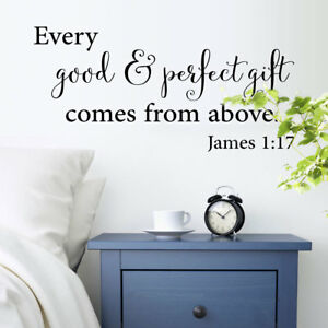 Details about James 1;17 Christian Vinyl Wall Art Stickers Bible Quote  Bedroom Decoration
