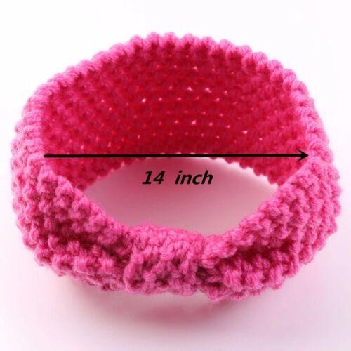 Newborn Baby Toddler Girls Winter Crochet Knitted Bow Hair Ear Winter Headband