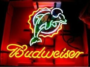 Details about New Miami Dolphins Budweiser Neon Light Sign 20