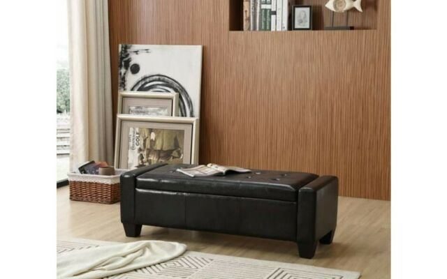 Enjoyable Ottoman Storage Bench Foot Stool Bed End Hallway Pu Leather Black Seat Chest Box Pabps2019 Chair Design Images Pabps2019Com