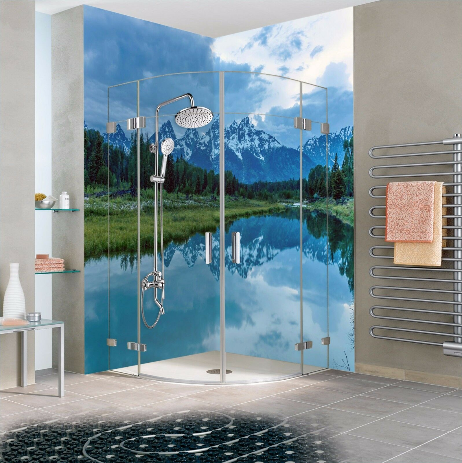 3D Mountain Lake 574 WallPaper Bathroom Print Decal Wall Deco AJ WALLPAPER AU