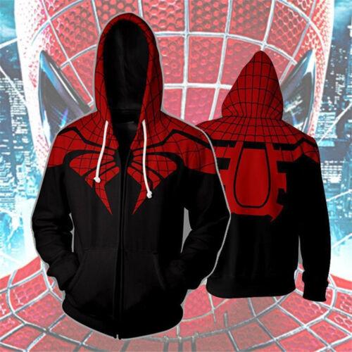 5 Type 3d Spider-Man Hoodies con Cappuccio Pullover Cerniera Felpa