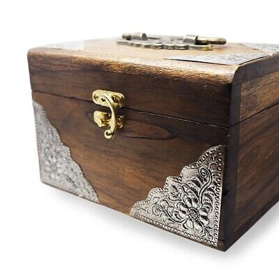 WOODEN BOX THAI  ELEPHANT VINTAGE TRINKET JEWELRY STORAGE HANDMADE