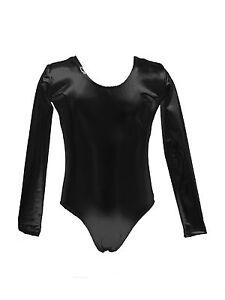 Body-Justaucorps-Manche-Longue-Danse-Effet-Vinyle-Noir-T-Lingerie-NEUF-SEXY