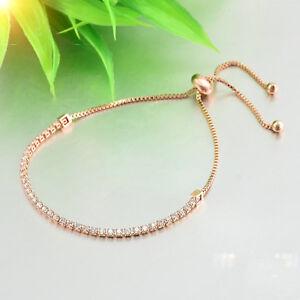 Women Rhinestone Cubic Zirconia Bracelet Fashion Adjustable Bangle Chain Jewelry
