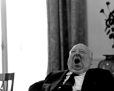 8X10 CANDID PHOTO ALFRED HITCHCOCK DIRECTOR CAUGHT IN BIG YAWN ZZ-226