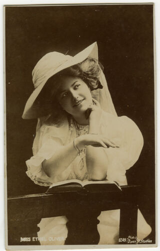 c 1910 British Glamour LOVELY LADY in HAT Ethel Oliver Theater photo postcard