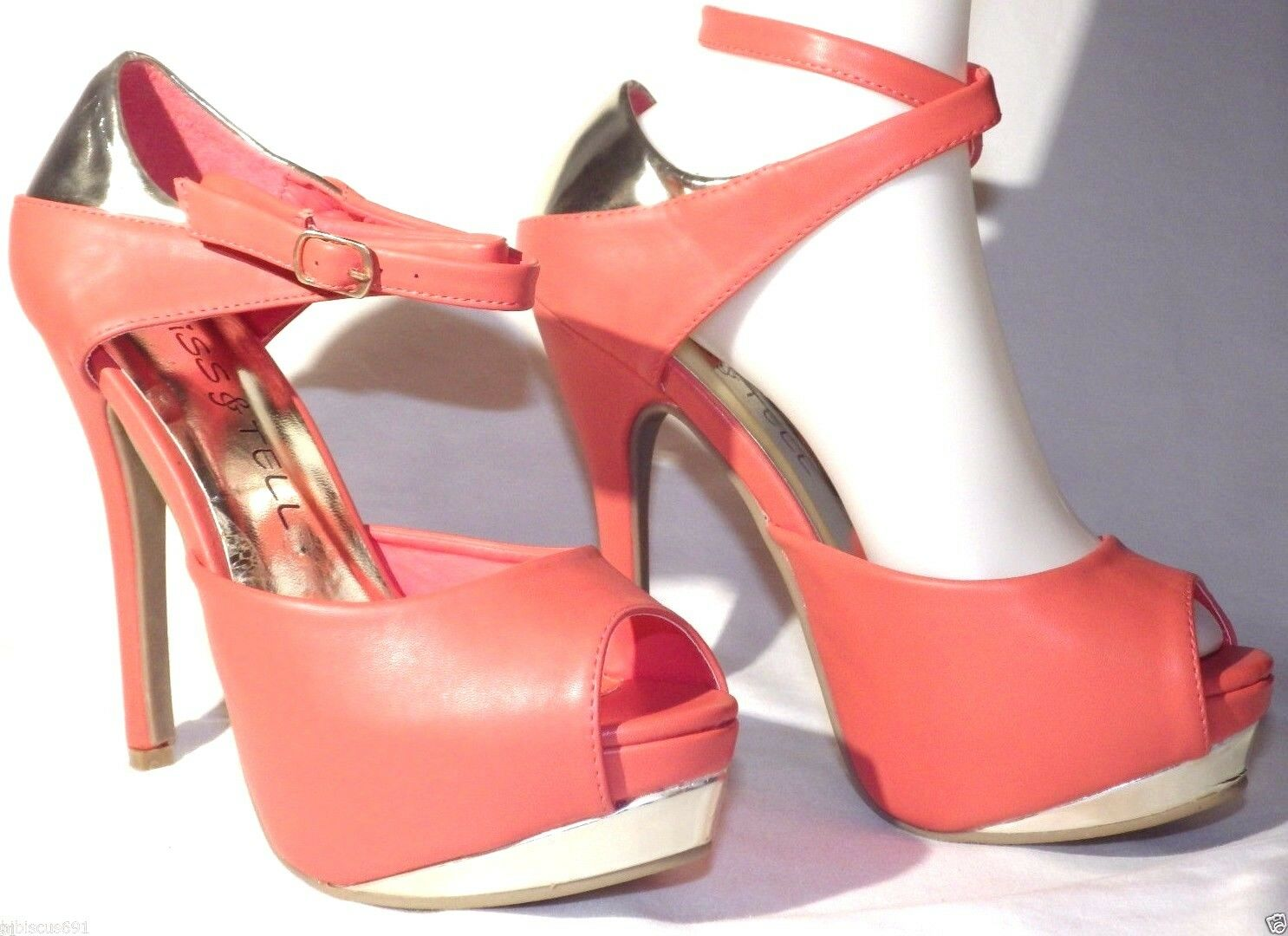 New Kiss & High Tell Faux Leather Platform High & Heels Peep Toe Stilettos sexy shoes 776ddc