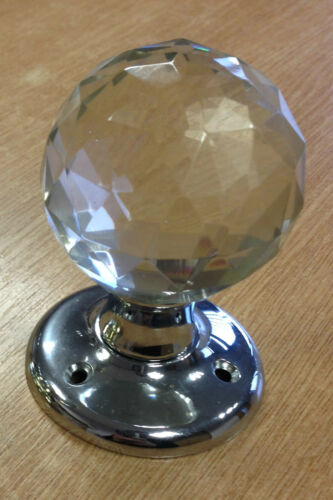 Ball Glass Mortice Door Knob//Handle Chrome or Brass Includes fixings 5 Pairs