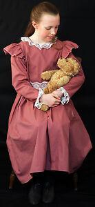 Girls-Edwardian-WW1-The-Great-war-Ladies-DUSKY-PINK-DRESS-Fancy-Dress-Costume