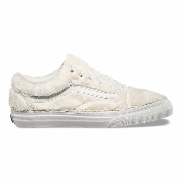 Vans Old Skool Sherpa Turtledove White Women's 9 Skate Shoes New Faux Fur