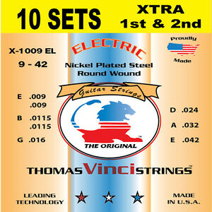 10 SETS Vinci - 9-42 XTRA 1st & 2nd Nickel Plated Electric Guitar Strings U.S.A.