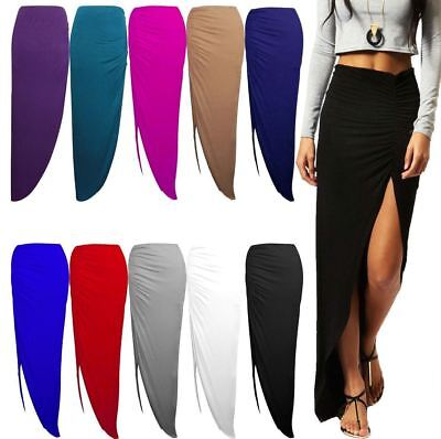 NEW WOMENS LADIES RUCHED SIDE SPLIT SLIT MAXI SKIRT DRESS SIZE 8-14