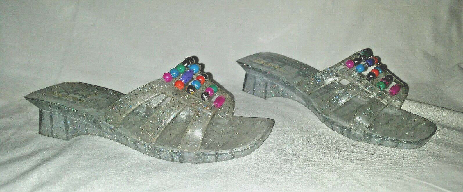 Adorable Anthony Mark Beaded Hankins Size 7 Slides Sparkly Jelly Beaded Mark Upper Sandals fd6cea