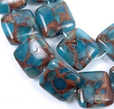 Gold Vein Rondelle Beads 28 10x7mm Aquamarine Quartz with Pyrite