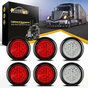 """RECESSED Red 4/"""" Round Truck Trailer Brake Stop Turn Tail Lights 2 PACK"""