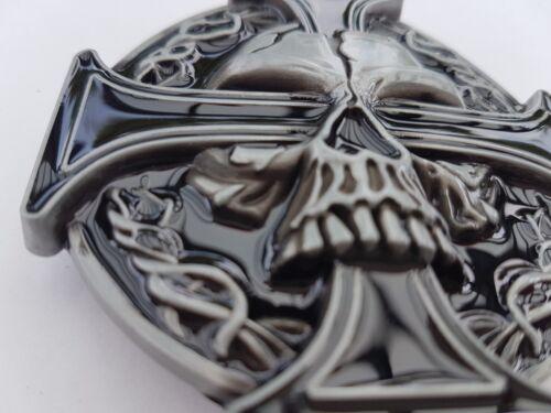 Concessionnaire Boucle de Ceinture Tête Mort Croix Fer Motard M1 Dt