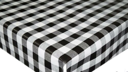 Plain traditionnel Vichy Carreaux Noir Blanc PVC huile Vinyle Table Chiffon Nettoyage