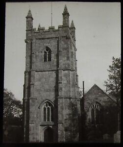 Glass-Magic-Lantern-Slide-PERRAN-CHURCH-TOWER-C1900-PHOTO-CORNWALL