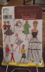 Oop-Simplicity-Archives-5785-barbie-wardrobe-gown-coat-retro-top-shorts-NEW