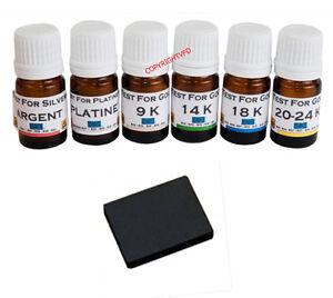 6-Test-or-9-14-18-20-24-carats-k-Argent-Platine-Pierre-de-touche-testeur