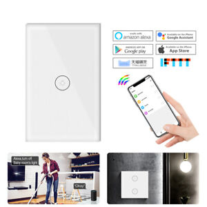 1/2/3-Gang WiFi Light Touch Switch Wall Panel Smart Home APP Remote Control