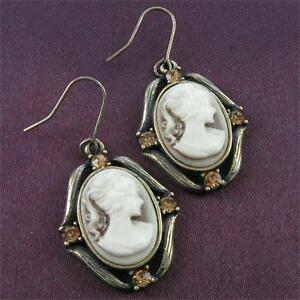 3b1ad8b2bb0b Antique Vintage Style Bronze Tone Plated Cameo Brown Stones Dangle ...
