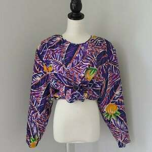 Vintage-90s-100-Silk-Tropical-Print-Oversized-Top-Slouchy-Lagenlook-Fit-M-L-12