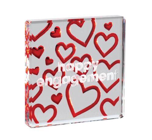 Jeton verre miniature Spaceform Heureux engagement rouge coeurs Mini Cadeau Souvenir