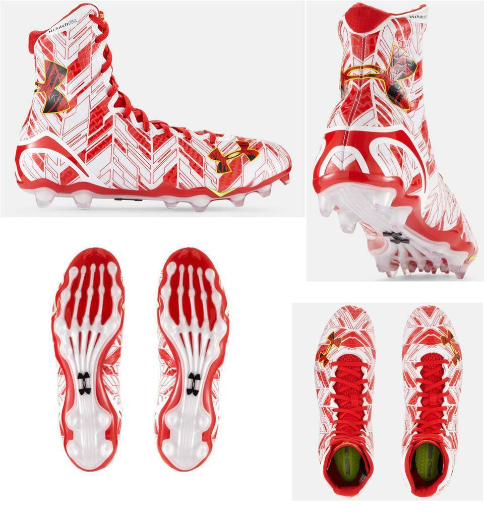 Under Armour Red White Lacrosse Lacrosse Lacrosse Football Clutchfit Spine Cleats Mns 8.5 NEW 333862
